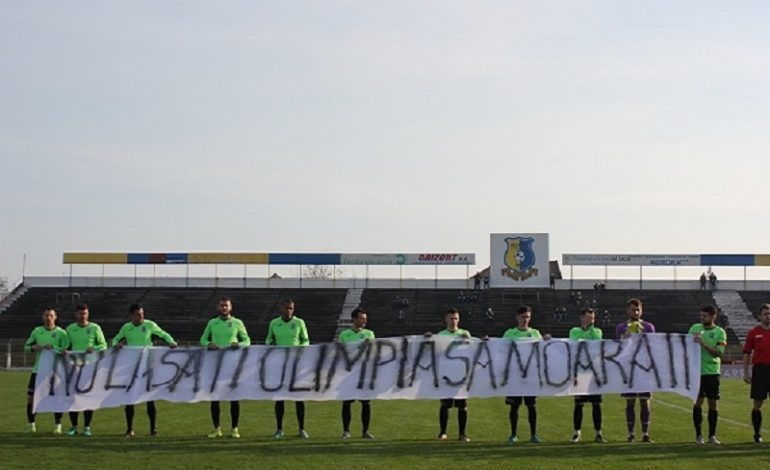 Protest al fotbaliștilor de la Olimpia Satu Mare